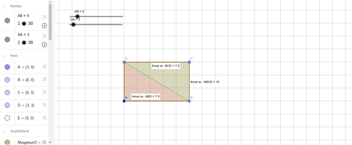 Utforsk sammenheng mellom arealet av trekanter og firkanter.