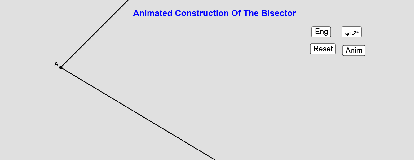 Animated Construction Of The Bissector  الإنشاء المُتحرّك ذاتياً لمُصّف الزاوية Press Enter to start activity
