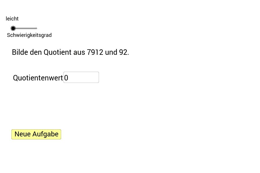 Trage den Wert des Quotienten in das Textfeld ein und bestätige die Eingabe mit der Enter-Taste. Den Schwierigkeitsgrad kannst du mit dem Schieberegler einstellen.