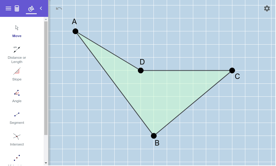 Move the vertices of this quadrilateral around to form a RECTANGLE (that is NOT a square).  Try to do so in such a way any pair of opposite segments is neither horizontal nor vertical.   Press Enter to start activity