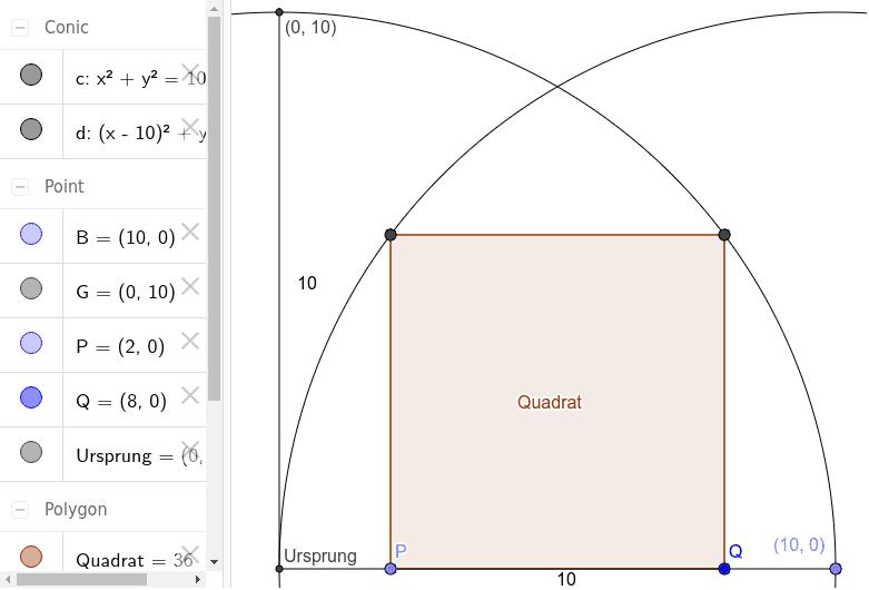 Quadrat in zwei Viertelkreisen