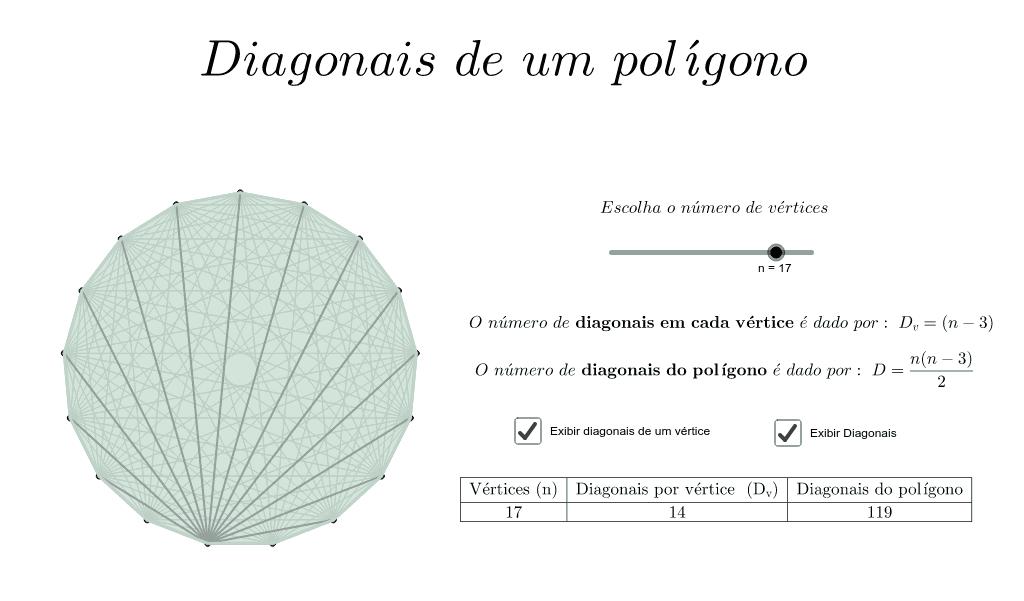Diagonais de um polígono  Press Enter to start activity
