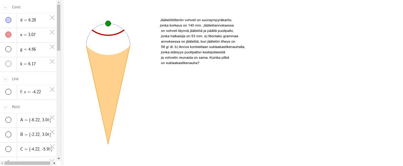 Tehtävä 4.6: Mallikuva tehtävään, jäätelötötterö