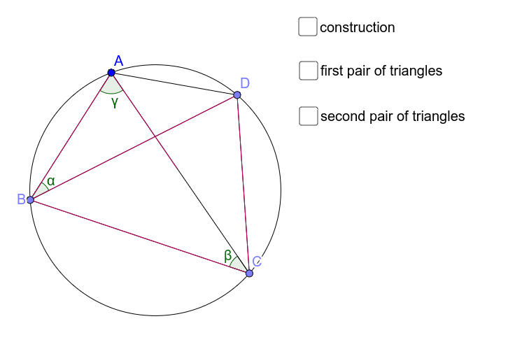Prove that the product of the diagonals is the sum of the product of the pairs of opposite sides Press Enter to start activity