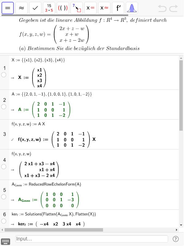Darstellende Matrix der Abbildung Drücke die Eingabetaste um die Aktivität zu starten