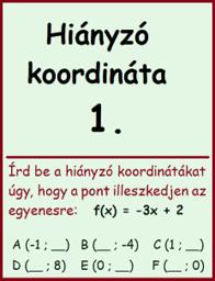 lineáris függvény - hiányzó koordináta 1.