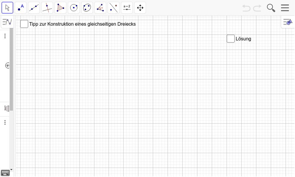 (2) Wie groß sind die Winkel in einem gleichseitigen Dreieck? Überlegt gemeinsam und nutzt GeoGebra zum Erkunden bzw. Überprüfen. Drücke die Eingabetaste um die Aktivität zu starten