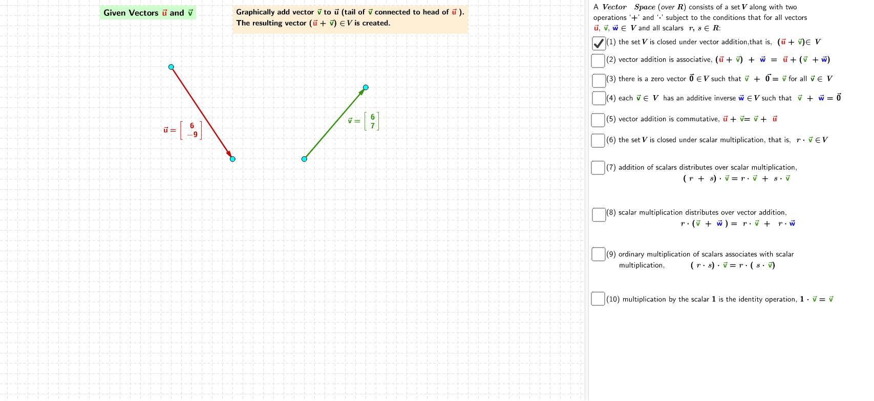 Applet - Vector Properties