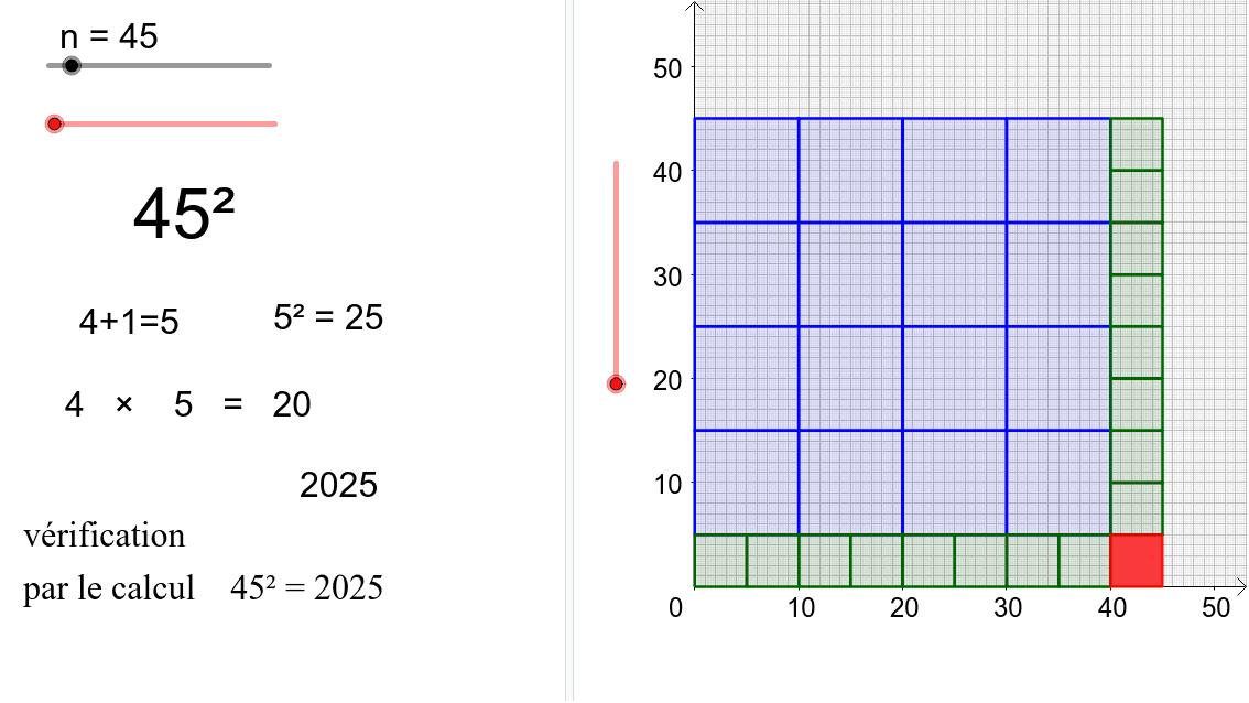 """Calcul du carré d'un nombre entier finissant par 5.  Tapez """"Entrée"""" pour démarrer l'activité"""