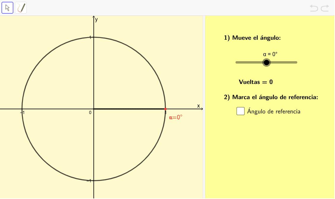 Explora los ángulos de referencia en ángulos con valor mayor a 360º, positivos o negativos. Presiona Intro para comenzar la actividad