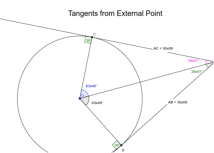 Click and move point A. Observe what happens to the values of the angle and the lengths of tangents. Press Enter to start activity