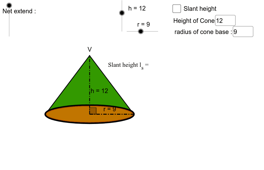 Move the net extend slider to find the shapes that create a cone.  Press Enter to start activity