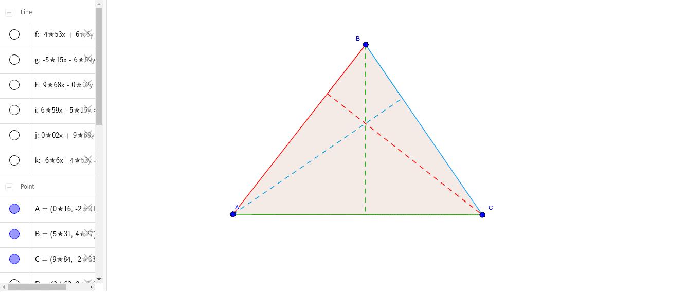 Puedes mover los puntos A, B y C para ver cómo se reajustan las alturas. Presiona Intro para comenzar la actividad