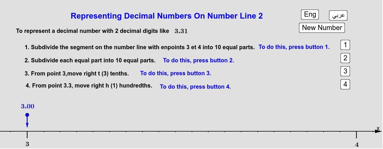 Case of decimal numbers with decimal part of 2 digits  حالة الأعداد العُشرية حيث الجزء العُشري يتألف من رقمين Press Enter to start activity