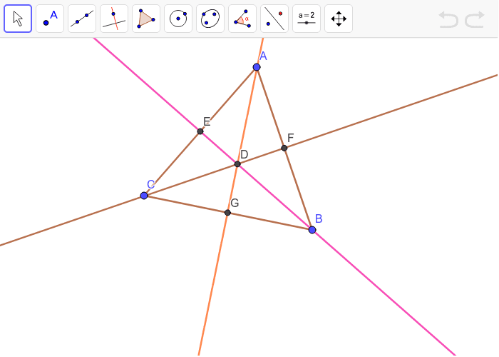 The incenter D of triangle ABC is given. A segment perpendicular to each side through point D is also given.  Press Enter to start activity