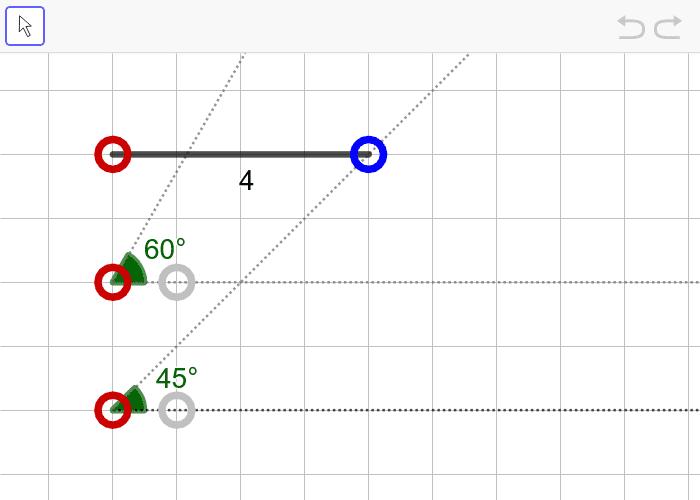 문제8. 한 변의 길이가 4이고 양 끝각의 크기가 45º, 60º인 삼각형(ASA) 활동을 시작하려면 엔터키를 누르세요.