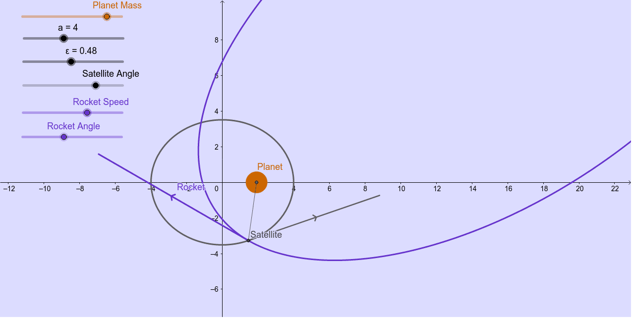 """Adapted from """"Launching of satellite from moving object in space"""" by jang_geogebra  Press Enter to start activity"""