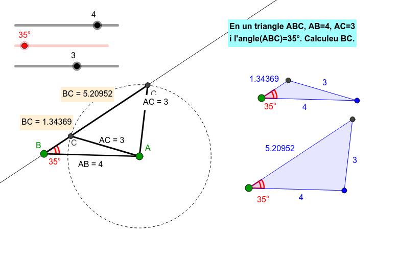 Visualització dels triangles en què es coneixen dos costats i un angle no comprès per aquests costats Premeu Enter per iniciar l'activitat