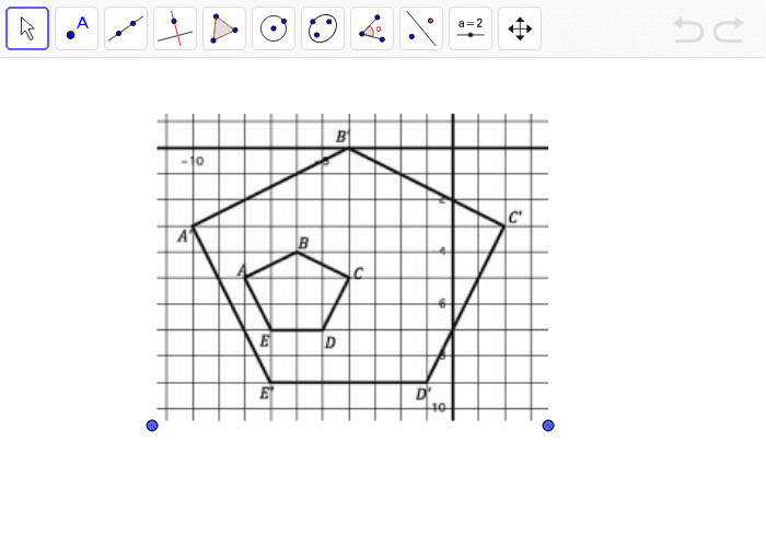 Use the line tool to find the center of dilation.