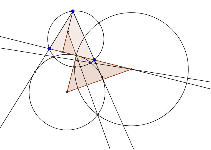 Тут при инверсии относительно крайней окр - ти другие окр - ти переходят сами в себя. Также, 4 - я точка четверки, которая должна быть гармонической - радикальный центр. Это доказывается через подобие 2 - х треугольников, повернутых друг относительно друг