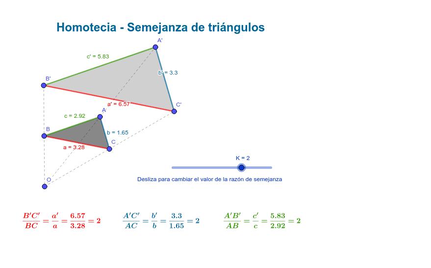 Ayúdate de este applet para, modificando el triángulo ABC (en gris oscuro) o la razón de semejanza (k, con el deslizador), ver cómo varía el triángulo A'B'C' y, sin embargo, la proporción entre los lados homólogos de ambos triángulos se mantiene.