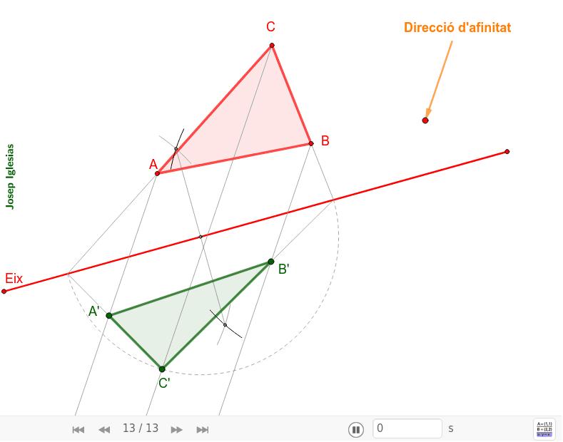 Afinitat definida per l'eix, una direcció i un angle de la figura. Premeu Enter per iniciar l'activitat