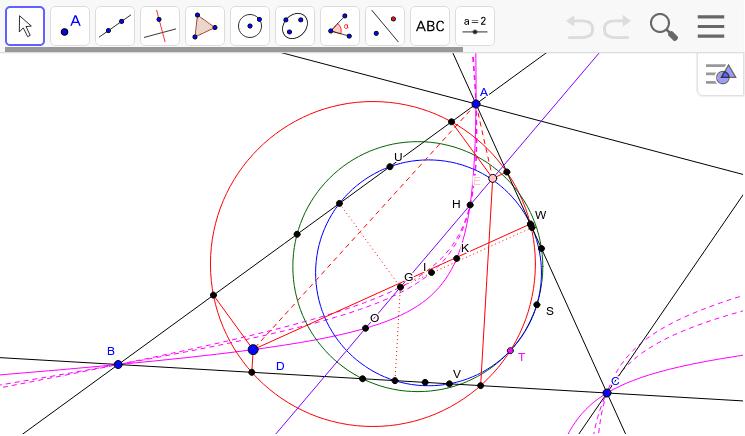 等角共役点がジェラベク双曲線上の垂足円は、9点円とGの垂足円の交点Tを通る。Dを右クリックしてアニメーションをチェック!