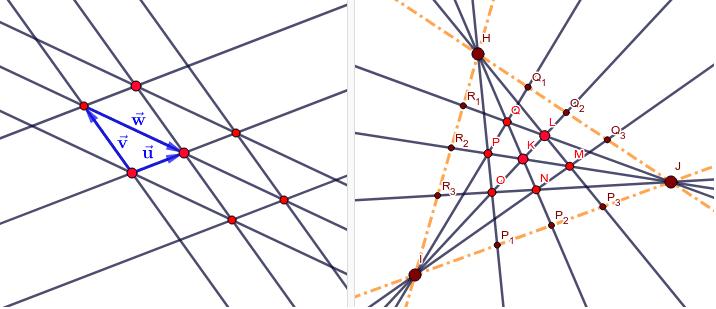 6-Ecknetz aus 3 Geradenbüschel
