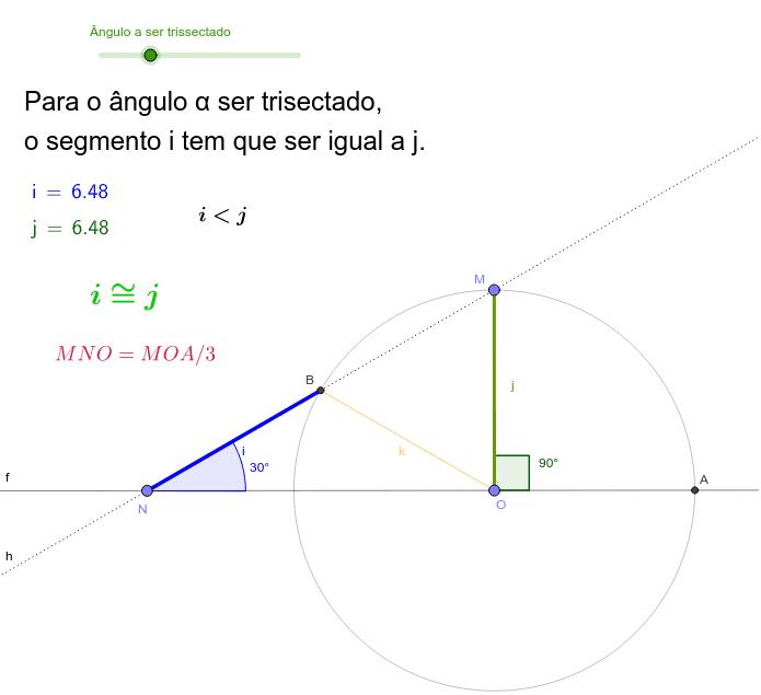 Os pontos M, N e O são movíveis.