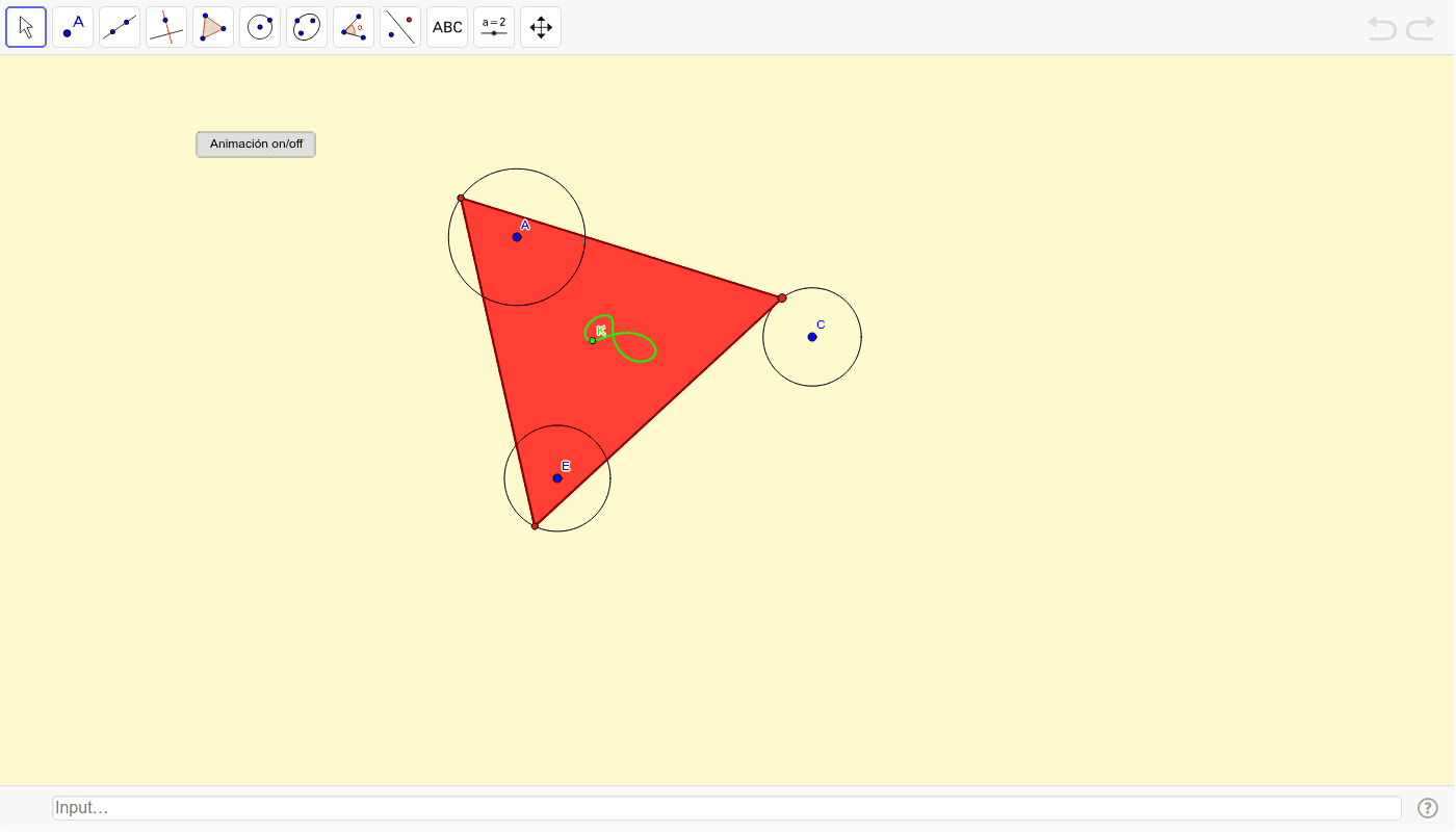 Cos vértices sobre tres circunferencias Press Enter to start activity