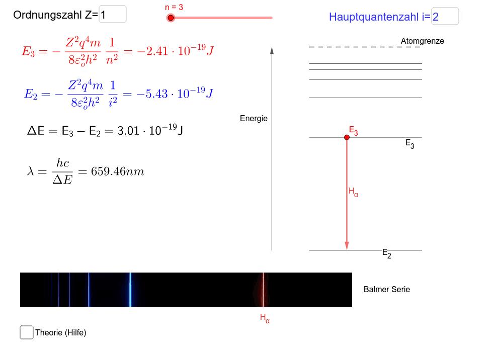 Verschiebe den Schieberegler für die Hauptquntenzahl n! Der Energiezustand mit der Quantenzahl i bildet die Basis des Quantensprungs. Drücke die Eingabetaste um die Aktivität zu starten