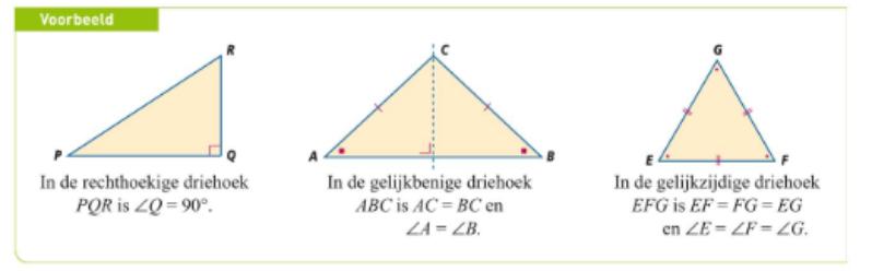 De eigenschappen van drie bijzondere driehoeken. Let vooral ook op welke hoeken even groot zijn, dit komt goed van pas!