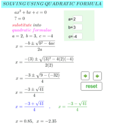 Quadratic Formulae to Solve for x.