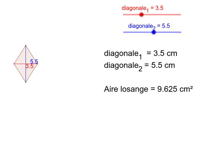 """Déplacez les curseurs """"diagonale 1"""" et """"diagonale 2"""" afin de découvrir la formule d'aire Tapez """"Entrée"""" pour démarrer l'activité"""