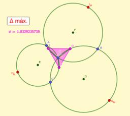 Triángulo equilátero máximo pasando por 3 puntos