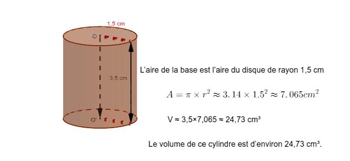 """Exemple : Calculer le volume du cylindre ci-dessous : Tapez """"Entrée"""" pour démarrer l'activité"""