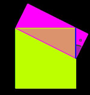 Imagina que coneixem la longitud del segment blau i l'angle alfa.