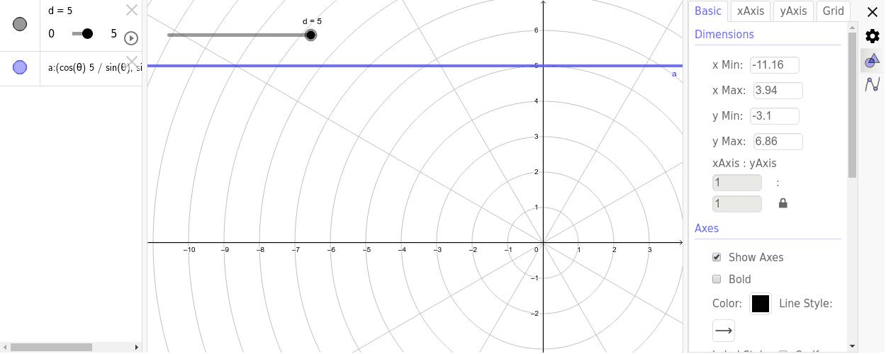 Recta paralela al eje polar, y que se encuentra por encima de éste. Presiona Intro para comenzar la actividad
