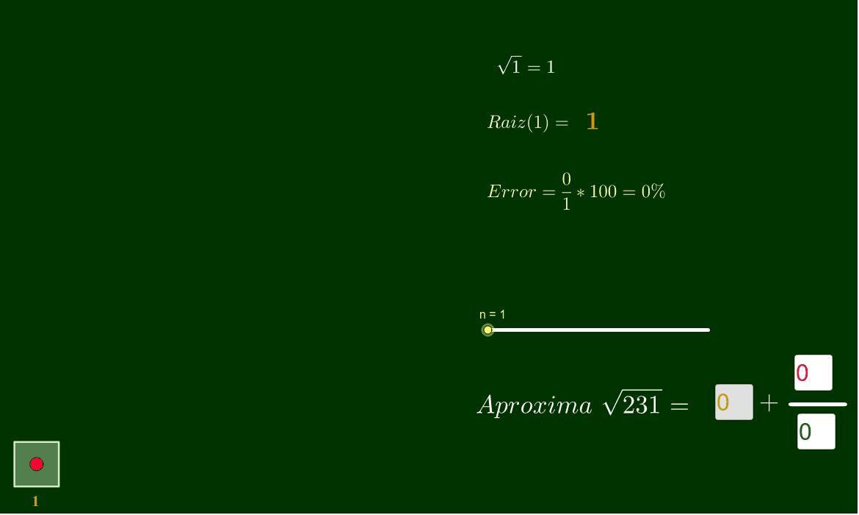 Una aproximación racional a la raíz cuadrada de un número natural Presiona Intro para comenzar la actividad