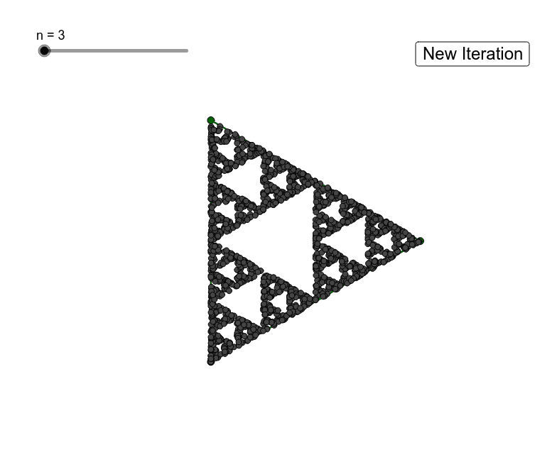 Take the midpoint of two random vertices of a polygon. Continue then taking the midpoint of the new point and a random vertex. This shows 1750 iterations.  Press Enter to start activity