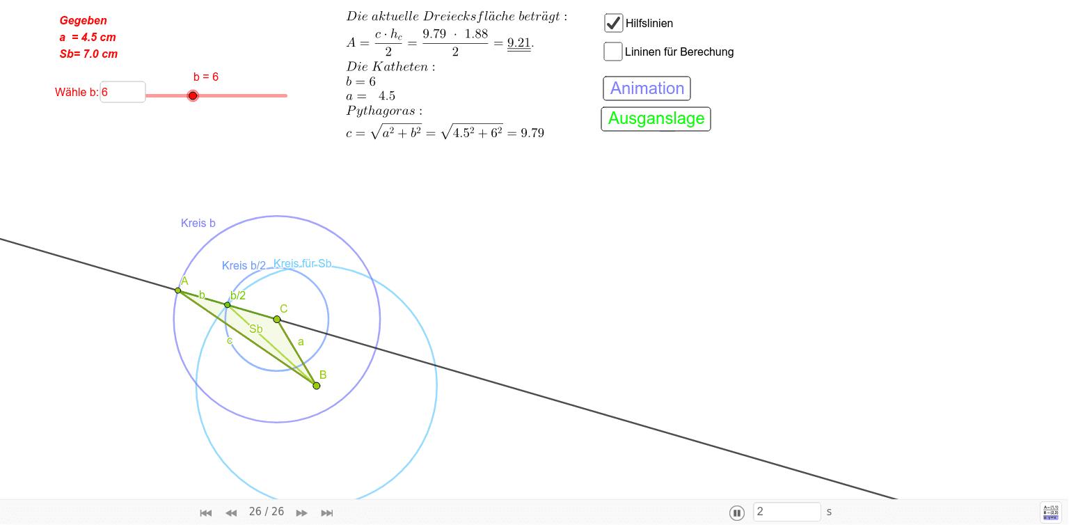 Aufgabenstellung; Konstruieren sie ein Dreieck aus a= 4.5 cm; b=6 cm; Sb= 7 cm und b dynamisch