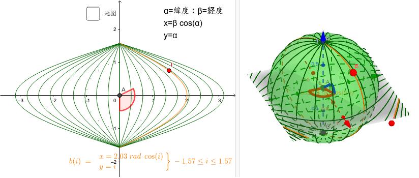 この図法は面積を変えない。訳は舟形多円錐図法を合わせたものだから。Bを動かしてみよう。 ワークシートを始めるにはEnter キーを押してください。