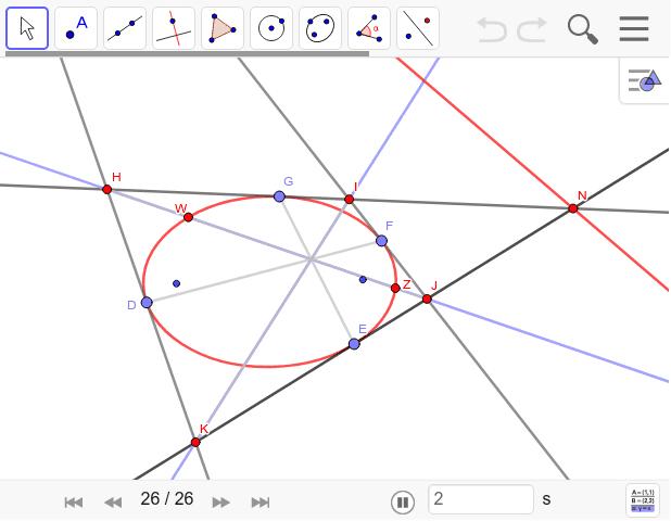 円でも成り立つことは楕円でも成り立ちます。対角線と向かい合う接点を結んだ線は一点で交わる。 ワークシートを始めるにはEnter キーを押してください。