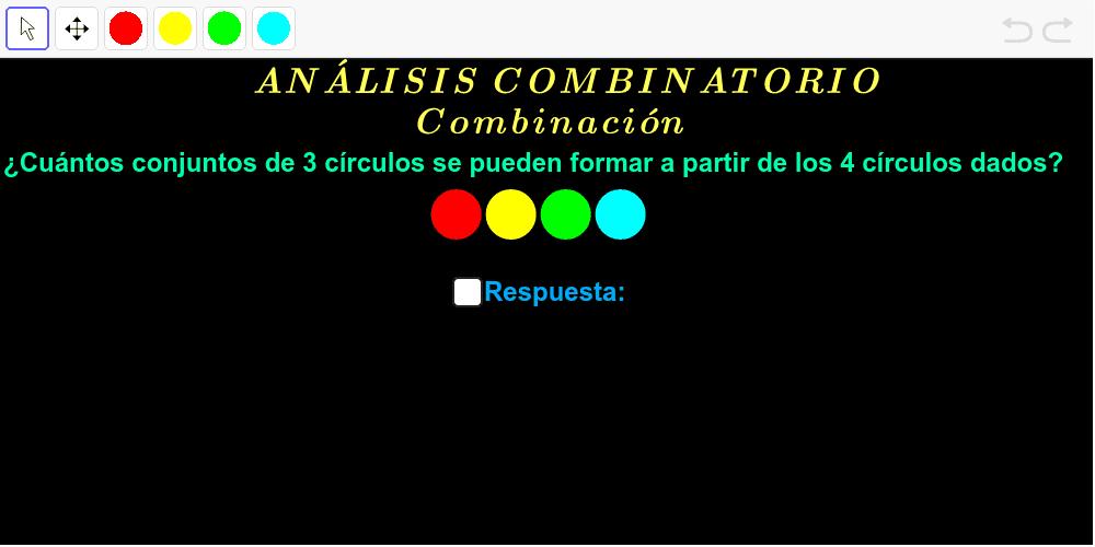 Haga clic en el círculo de color elegido y después clic en la vista gráfica. Press Enter to start activity