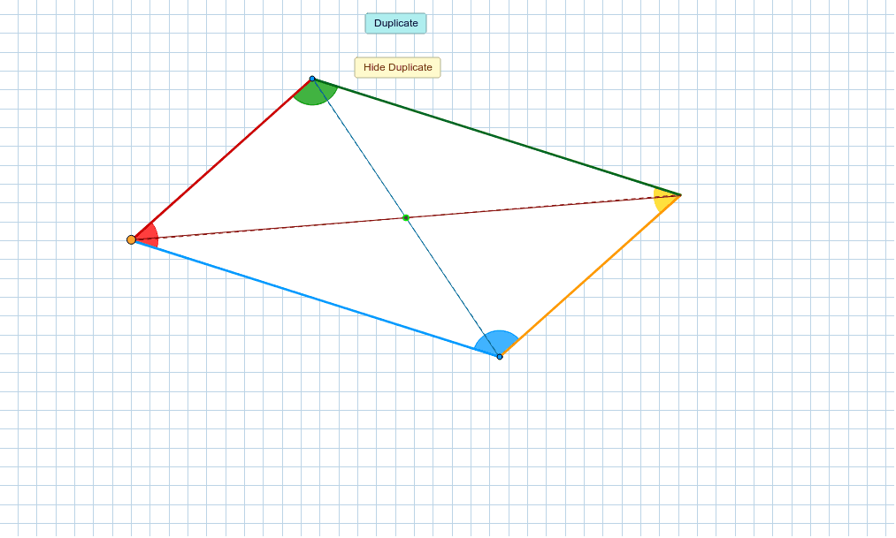 Drag the yellow point and rotate the image until it maps on itself again. What do you notice about the lengths of the diagonals (blue and red lines)? What do you notice about the opposite angles? What do you notice about the lengths of the sides?  Press Enter to start activity