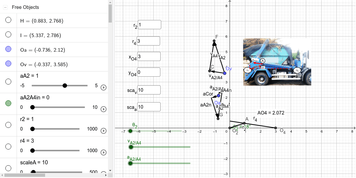 Editable position, velocity and acceleration problem calculation of a quick-return based linkage with input of velocity and acceleration on cylinder. Press Enter to start activity