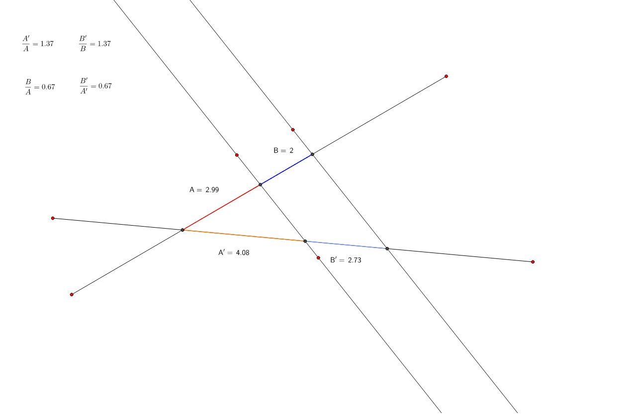 Puedes mover los puntos rojos. Los segmentos determinados por las rectas paralelas (los que están en color) son proporcionales, como se comprueba con las divisiones superiores.