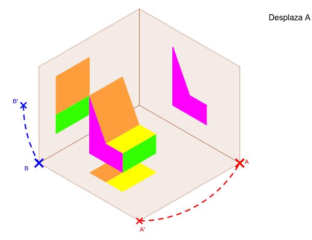 Vistas de una figura tridimensional