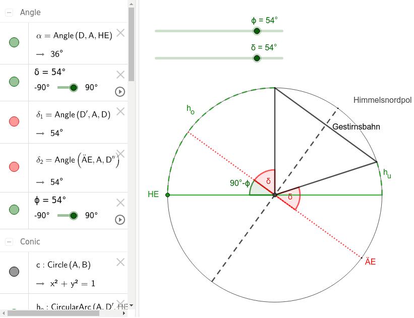 Zusammenhang zw. Horizont- und Äquatorialsystem