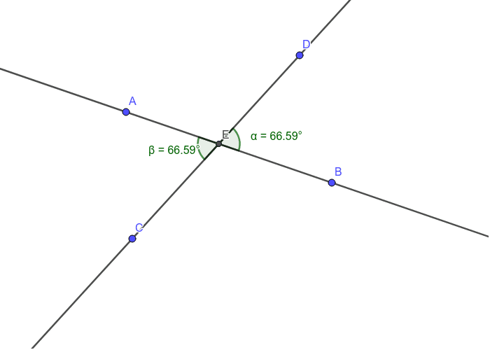 Vertical Angles: Move the points around to confirm that the angles are always equivalent.  Press Enter to start activity